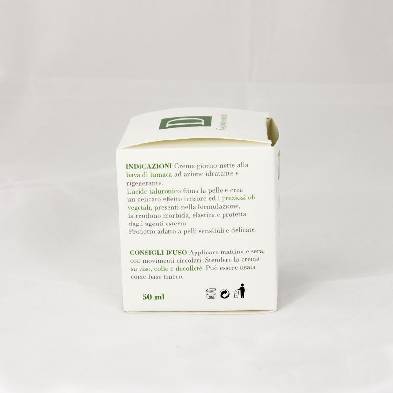 Helisyr Optima Crema Idratante Antiage Giorno e Notte alla Bava di lumaca e Acido Ialuronico Modalità d'uso Dermacosmesi